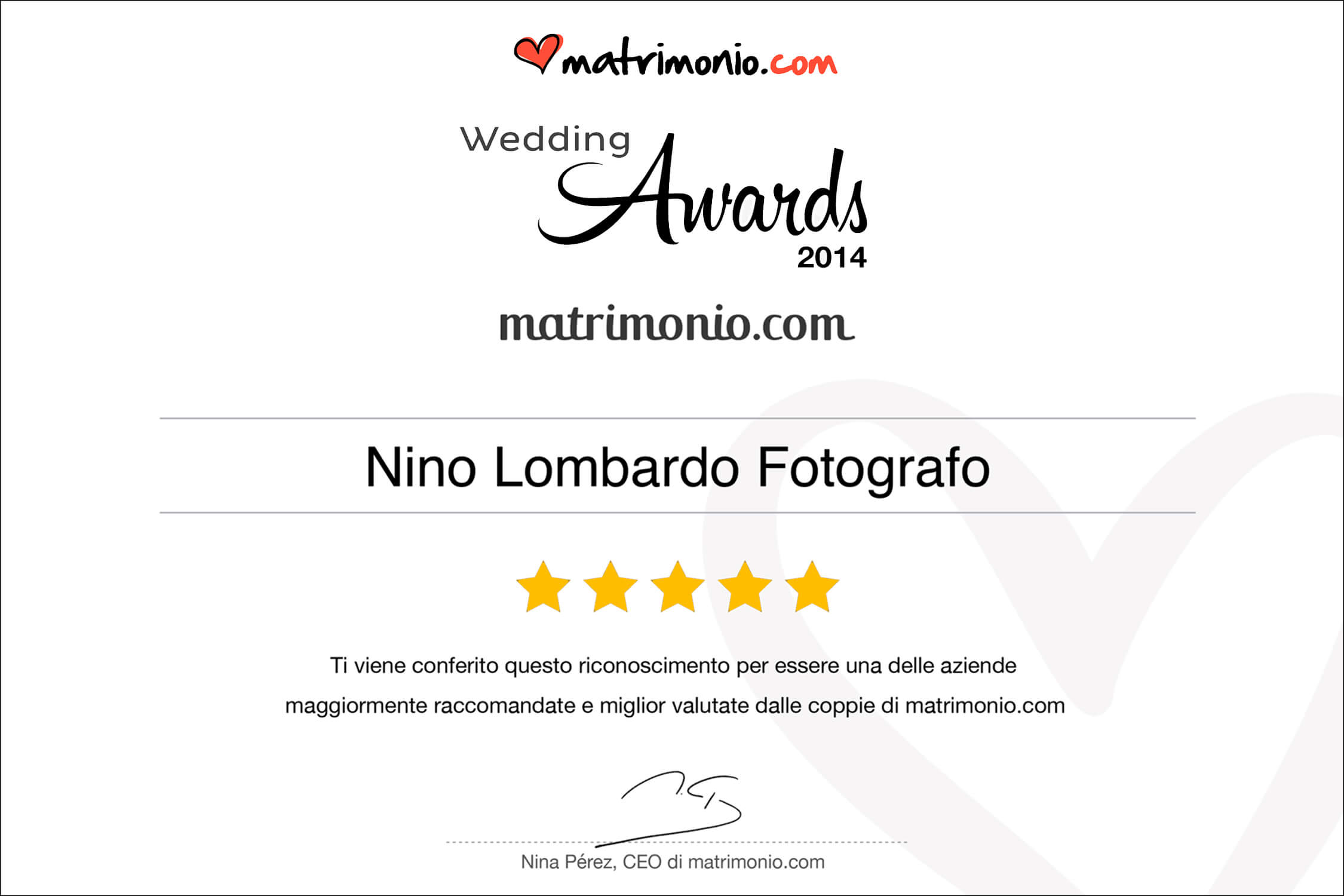 2014 Best Testimonials Wedding Award matrimonio.com Italy Photographer