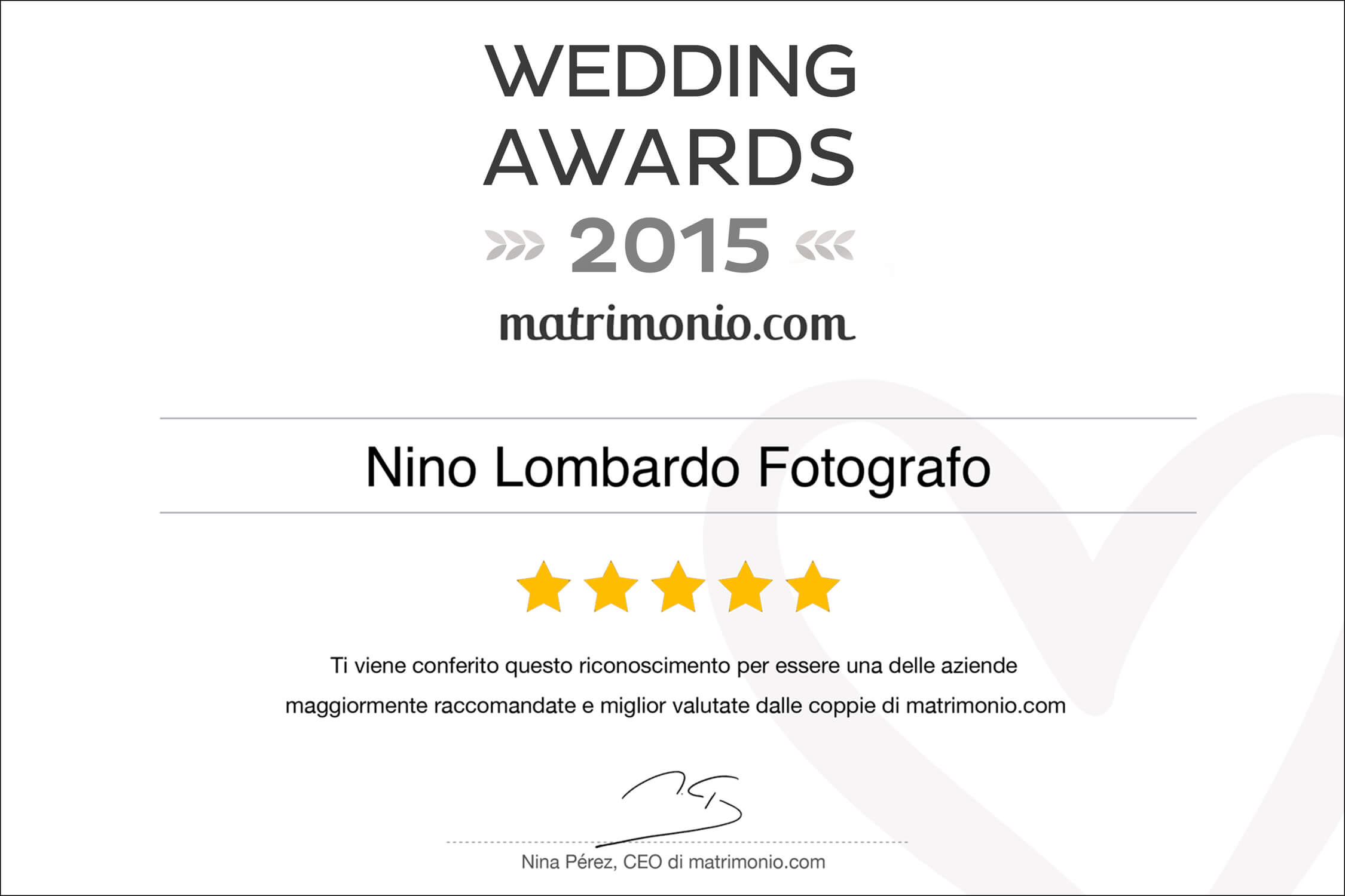 2015 Best Testimonials Wedding Award matrimonio.com Italy Photographer