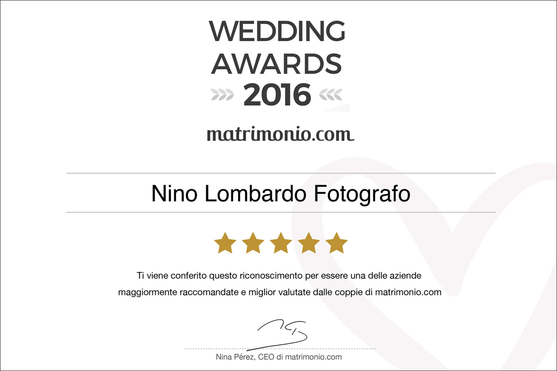 2016 Best Testimonials Wedding Award matrimonio.com Italy Photographer