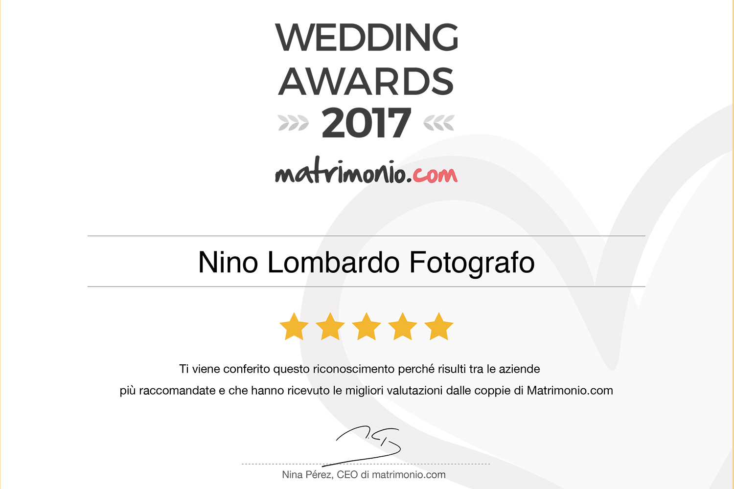 2017 Best Testimonials Wedding Award matrimonio.com Italy Photographer