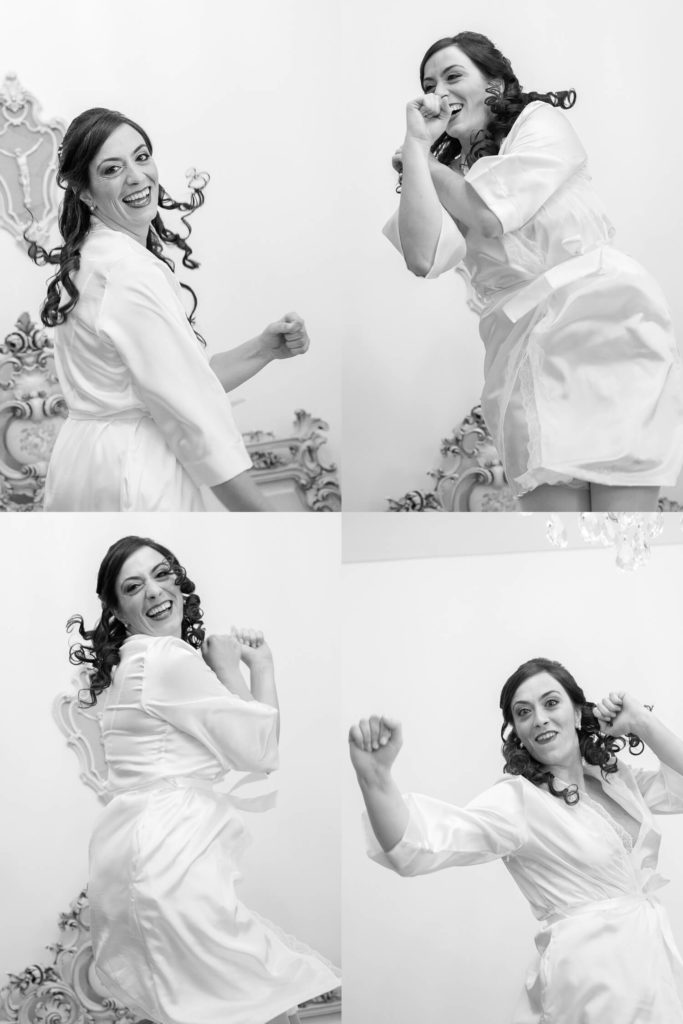 Composition of 4 photos of the cheerful jumping bride, black and white photograph by Nino Lombardo