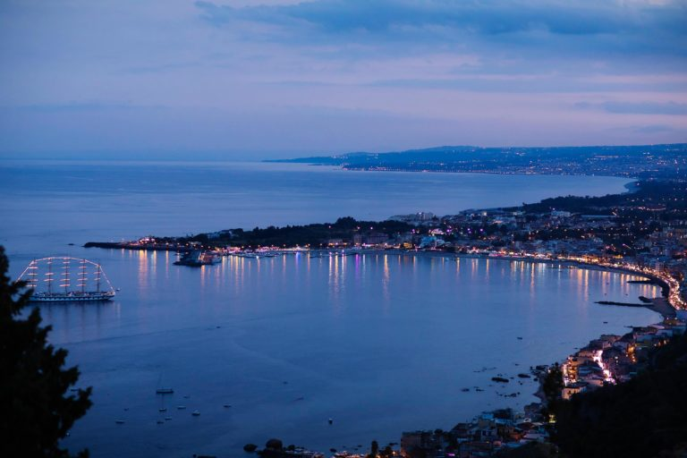 The Gulf of Taormina seen from the San Domenico Palace, wedding photo by Nino Lombardo