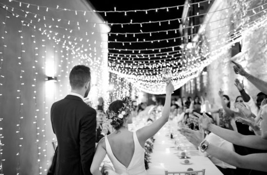 Beautiful black and white photo of the reception made by the photographer for weddings in Trapani in Italy